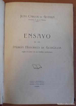 Ensayo de un Padrón Histórico de Guipúzcoa. Juan Carlos