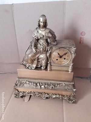 Reloj antiguo de bronce época Louis fhillipe máquina de