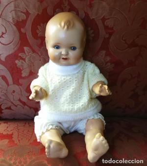 Antigua muñeca muñeco, cabeza de porcelana, cuerpo de