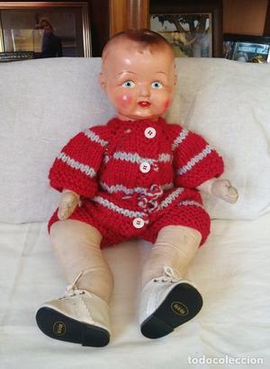 Antigua muñeca muñeco extranjero, cabeza de ceramica 47