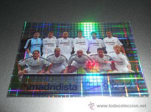 694 ALINEACION PLANTILLA REAL MADRID CROMOS ALBUM MUNDICROMO