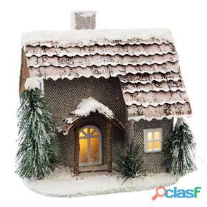 Casa con luz LED cartón 21x19x20cm