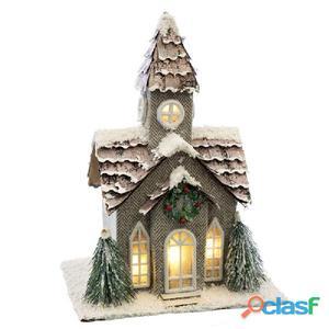 Casa iglesia cartón decoración navidad 22x17x31cm