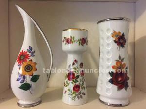 Conjunto de 3 jarrones de porcelana vintage