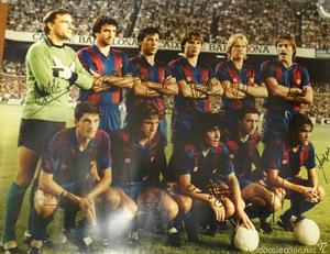 Foto Fútbol Club Barcelona firma Maradona Schuster Quini...