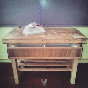 Mesa de cocina rustica tocinera con dos cajones posot class - Mesa de cocina rustica ...