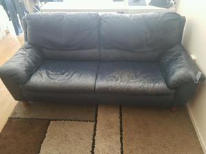 sofa divan&divan en piel con desgaste