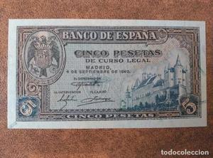 5 pesetas de  Burgos, serie A, sin circular/plancha