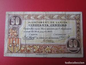 Ajuntament de LLeida. billete de 50 centimos.