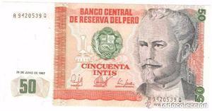 BILLETE DE PERU,  INTIS (LOTE 1)