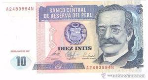 BILLETE DE PERU,  INTIS (LOTE 3)