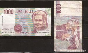 Billetes Italianos antiguos (dos billetes)  liras