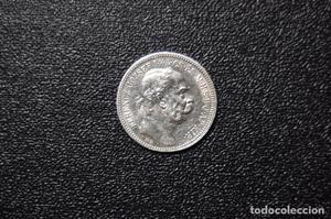 Bonita moneda de plata de 1 corona de Austria del año