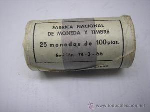 CARTUCHO CON 25 MONEDAS DE 100 PESETAS DE . F.
