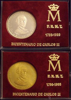 F.N.M.T. BICENTENARIO DE CARLOS III. SET DE 2 MEDALLAS,