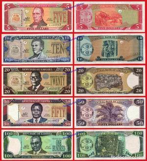 LIBERIA ANTIGUA SERIE COMPLETA  Y 100 Dólares