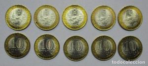 RUSIA . CONJUNTO DE 10 MONEDAS DE 10 RUBLOS DE LA CIUDAD