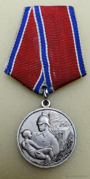 RUSIA SOVIETICA URSS MEDALLA AL VALOR DURANTE UN INCENDIO
