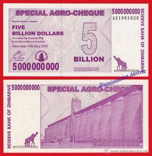 ZIMBABWE 5 Billones de Dolares ( Dolares)