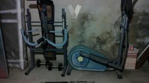 maquina de pesas y bicicleta eliptica
