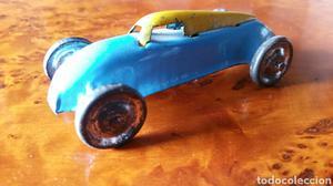"Antiguo coche: ""Torpedo Azul"", de lata (hojalata)."