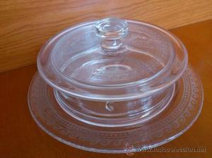 Bombonera antigua en cristal con cenefa grabada