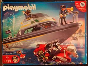 Figura Playmobil: Barca motorizada de policia y lancha