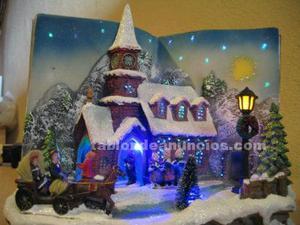 Iglesia de navidad con luces led y musica