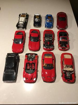 Lote de 11 coches Burago 1:24 y 1 Welly para reparar o para