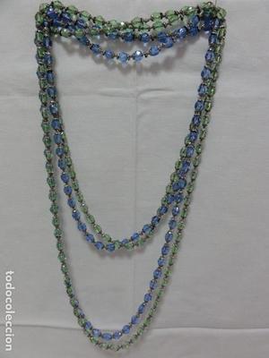 Pareja de collares 2 vueltas en cristal de roca verde y azul