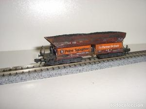 ROCO N vagón transporte carbón envejecido 6 ejes (con