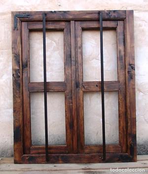 ventana rustica madera con rejas forjada, medida 100 cm alta