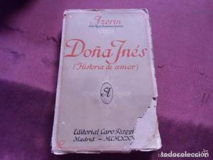 Libro Doña Inés, de Azorín. ª edición
