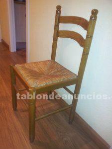 6 sillas de madera y enea