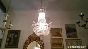 ANTIGUA LAMPARA DE SALON ESTILO IMPERIO, TODA EN CRISTAL,