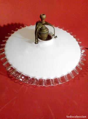 ANTIGUA LAMPARA EN CRISTAL CON CASQUILLO