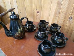 Antigua jarra de cafe con 6 servicios