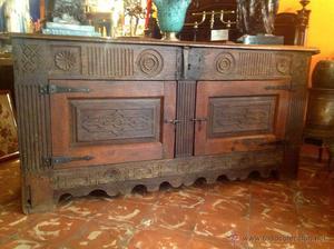 Antiguo Mueble Taquillón de Madera de Roble