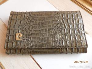 Antiguo monedero cartera de piel labrada tipo cocodrilo de