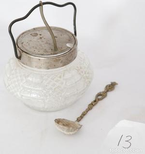 Azucarero de cristal, con cucharilla