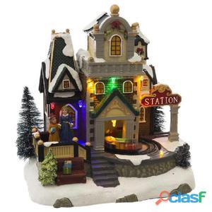Casa con luz LED poliresina 19,30x14,50x20,50cm