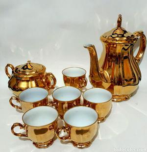 Espectacular lujo de conjunto de té bañado en oro de 24K