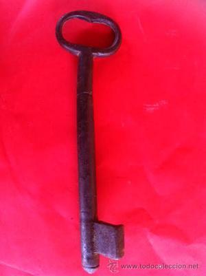 Importante antigua Llave de hierro forja en forma girada