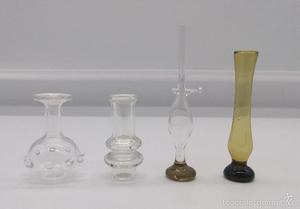 Jarrones y lampara de aceite en cristal soplado muy fino,