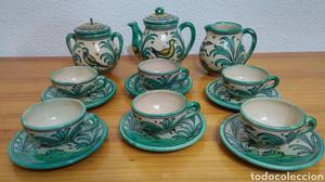Juego de café antiguo cerámica Puente del Arzobispo.
