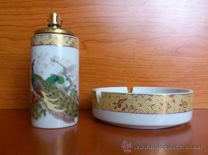 Juego de mechero y cenicero antiguos en porcelana Japonesa
