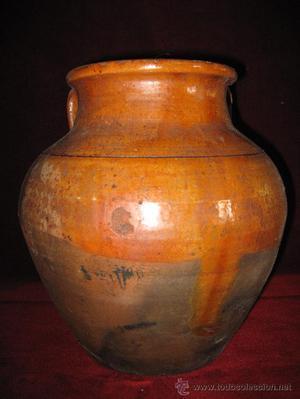 Orza o puchero antiguo de barro vidriado posot class - Pucheros de barro ...