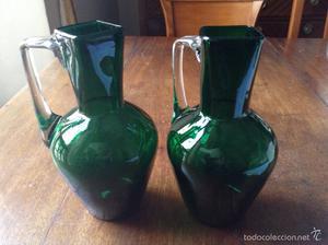 Pareja de jarrones antiguos cristal verde