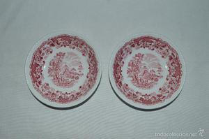 Platos de porcelana inglesa Wood's Burslem.