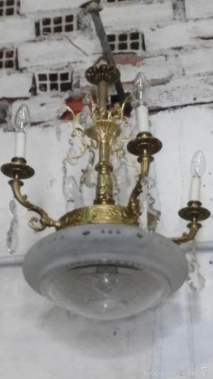 lampara antigua bronce y cristal